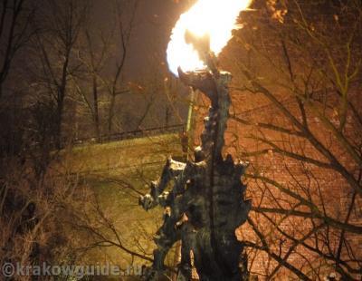 Краковский дракон извергает огонь
